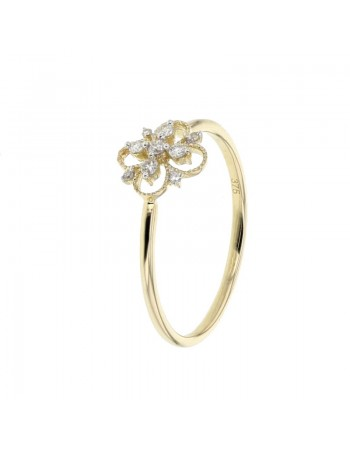 Bague fleur vintage diamants en or jaune