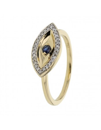 Sapphire and diamonds ring in yellow gold - 18 K gold: 3.00 Gr