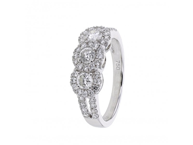 Diamond ring in white gold - 18 K gold: 4.30 Gr