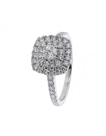 Diamond ring in white gold - 18 K gold: 3.90 Gr