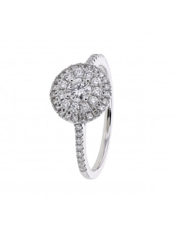 Diamond ring in white gold - 18 K gold: 2.50 Gr