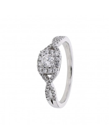 Diamond ring in white gold - 18 K gold: 3.00 Gr