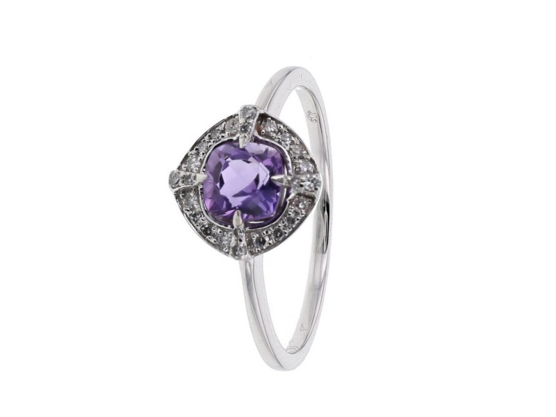 Bague amethyste diamant en or blanc