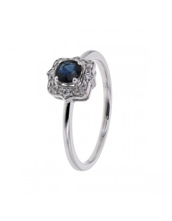 Sapphire and diamonds ring in white gold - 18 K gold: 2.00 Gr