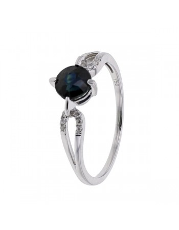 Bague saphir diamants en or blanc