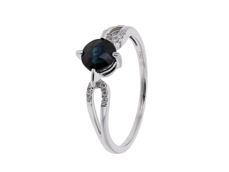 Sapphire and diamonds ring in white gold - 18 K gold: 1.80 Gr