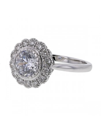 Diamond ring in white gold - 18 K gold: 3.60 Gr