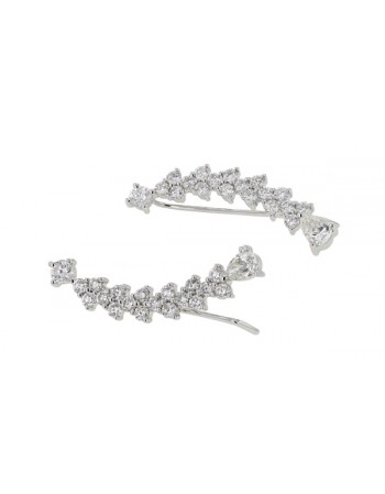 Diamond earrings in white gold - 18 K gold: 2.62 Gr