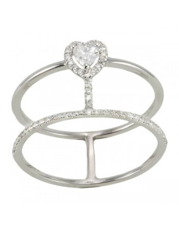 The hearts pave set ring in 9 K gold