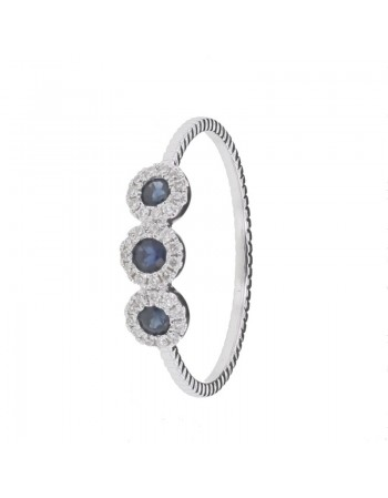 Diamond ring in white gold - 9 K gold: 1.39 Gr