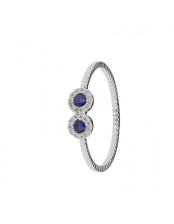 Diamond ring in white gold - 9 K gold: 1.10 Gr
