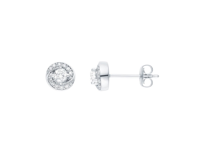 Diamond earrings in white gold - 18 K gold: 2.14 Gr