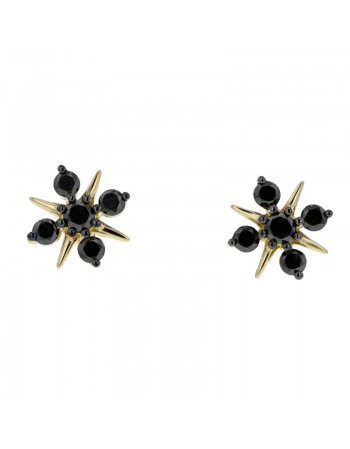 Diamond earrings in yellow gold - 18 K gold: 1.80 Gr