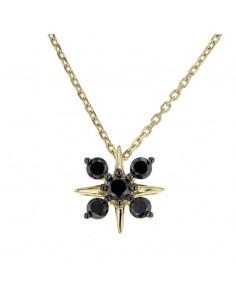 Collier fleur dts noir en or jaune