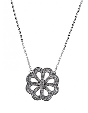 Diamond necklace in white gold - 18 K gold: 2.75 Gr