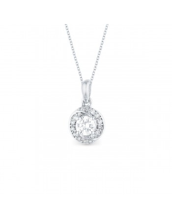 Diamond pendant in white gold - 18 K gold: 1.24 Gr