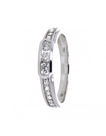 Diamond wedding ring in white gold - 18 K gold: 2.60 Gr