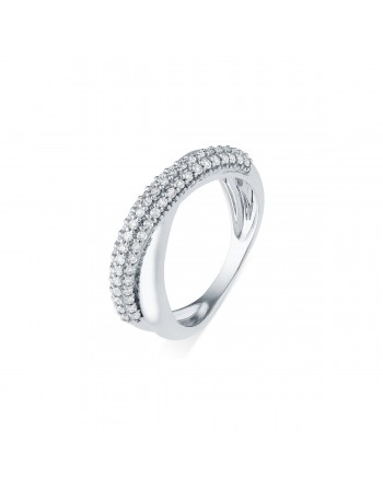 Bague croisée diamants sertis grains en or blanc