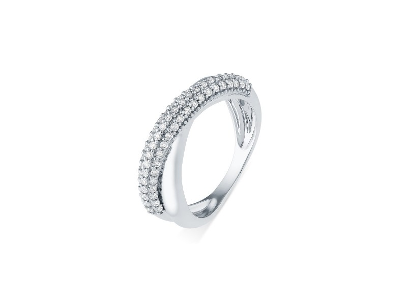 Diamond ring in white gold - 18 K gold: 4.40 Gr