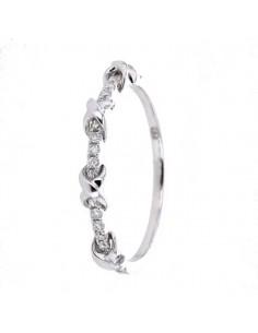 Bague alliance diamants croisillons en or blanc