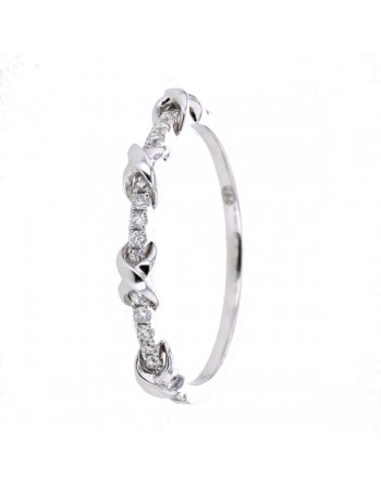 Diamond ring in white gold - 9 K gold: 1.54 Gr