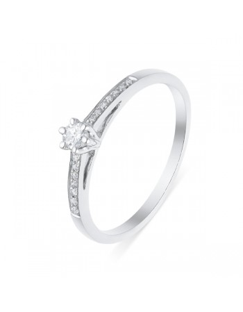 Diamond engagement ring in white gold - 9 K gold: 1.50 Gr
