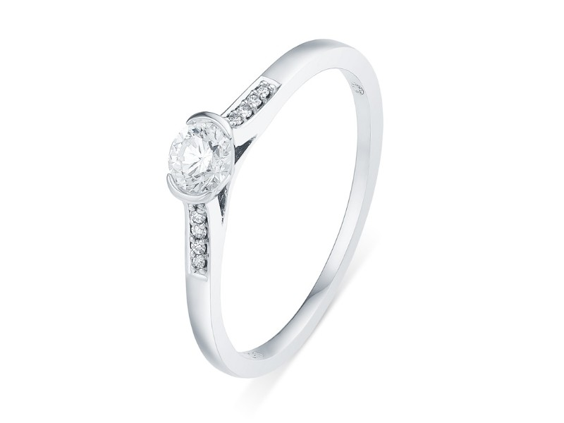 Diamond engagement ring in white gold - 18 K gold: 2.20 Gr