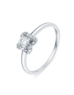 Bague solitaire diamant accompagné sertis grains en or blanc