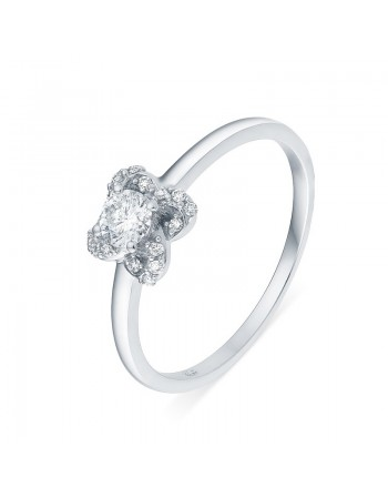 Diamond engagement ring in white gold - 18 K gold: 1.96 Gr
