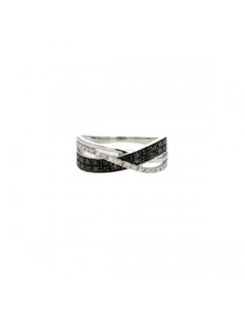 Diamond ring in white gold - 9 K gold: 2.39 Gr