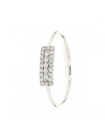Bague rectangle pavé de diamants en or blanc