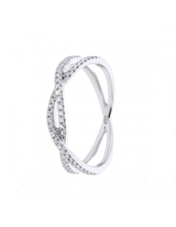 Diamond ring in white gold - 9 K gold: 2.00 Gr