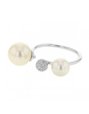 Diamond ring in white gold - 9 K gold: 3.00 Gr