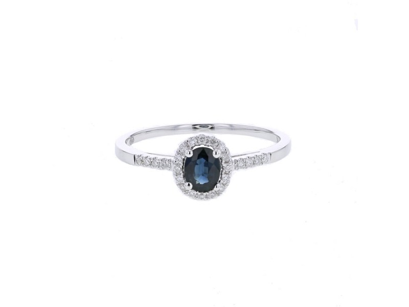 Sapphire and diamonds ring in white gold - 9 K gold: 1.34 Gr