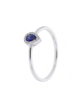 Diamond ring in white gold - 9 K gold: 1.33 Gr