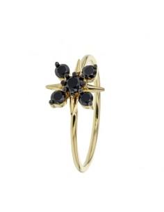 Bague fleur dts noirs en or jaune