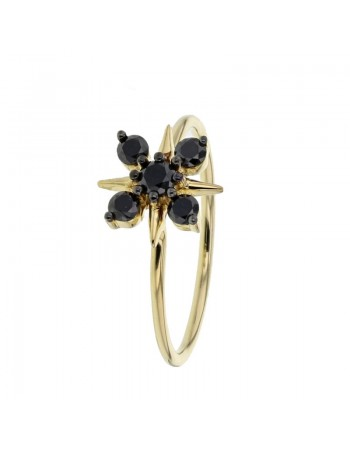 Diamond ring in yellow gold - 18 K gold: 1.40 Gr