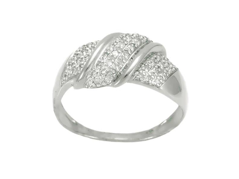 Bague pavé entrelacé en diamants en or blanc