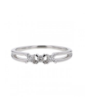 Diamond ring in white gold - 9 K gold: 1.90 Gr