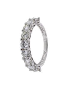 Demi-alliance griffes diamants éco en or blanc