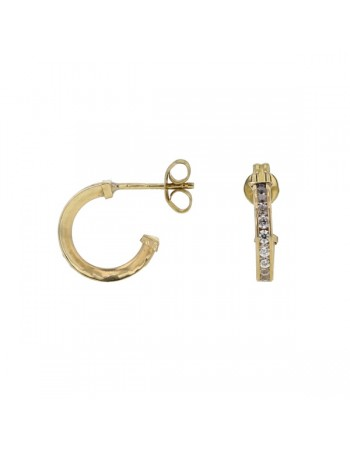 Pave set cubic zirconia earrings in 9 K gold
