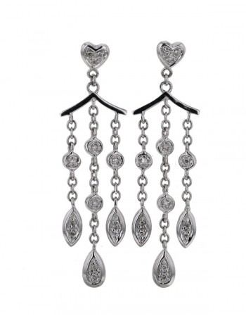 Boucles d'oreilles pendantes diamants en or blanc
