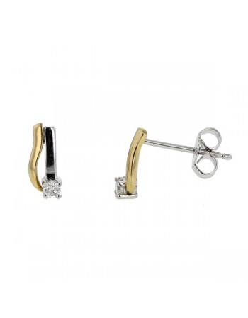 Two-colour earrings with diamonds in 18 K gold