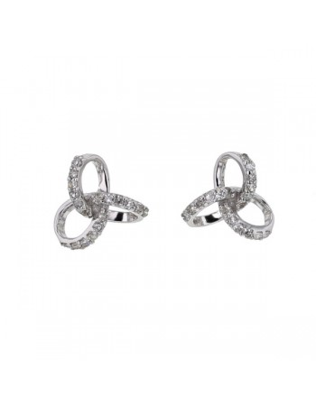 Pave set diamond earrings in 18 K gold
