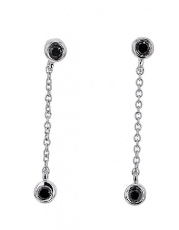 Boucles d'oreilles diamants noirs en or blanc