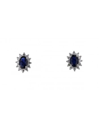 Sapphire and diamonds earrings in white gold - 18 K gold: 2.10 Gr
