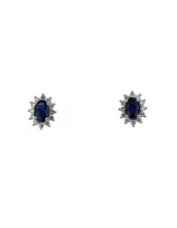 Sapphire and diamonds earrings in white gold - 18 K gold: 2.24 Gr
