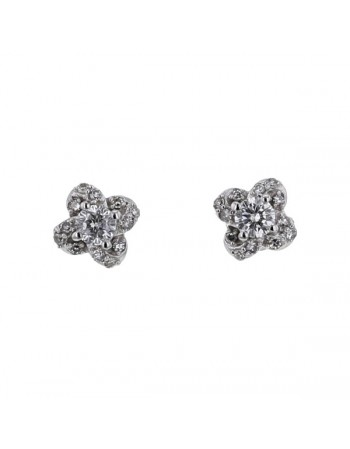 Diamond earrings in white gold - 18 K gold: 1.78 Gr
