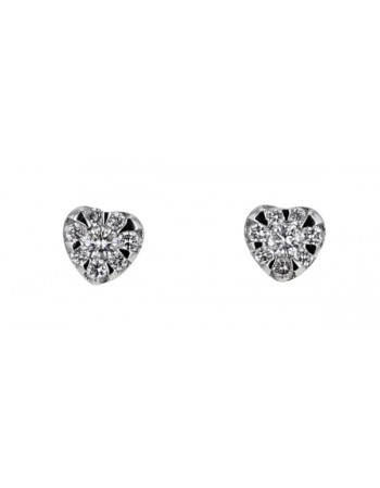 Illusion set heart shape diamonds earrings in 18 K gold