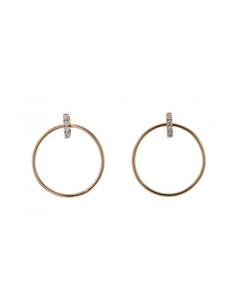 Diamond earrings in rose gold - 18 K gold: 1.75 Gr